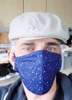 Stoff Maske - Blau / kleine weisse Sterne mit Filter