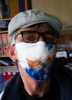 Stoff Maske - Schmetterling / blau - weiss
