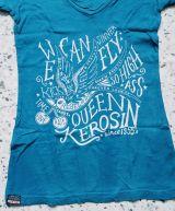 Queen Kerosin Batik Vintage Shirt / We can Fly - blau
