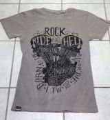 Batik Vintage Shirt - Ride to Hell / grau - Limited Edition