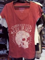 Queen Kerosin Batik Vintage Shirt / Ride or Die - rot