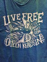 Queen Kerosin Batik Vintage Shirt / Live Free - blau