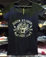 Queen Kerosin Girls T-Shirt - Cat Fight Club / black-beige