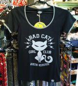 Queen Kerosin Girls Contrast T-Shirt - Bat Cat / Girls Club
