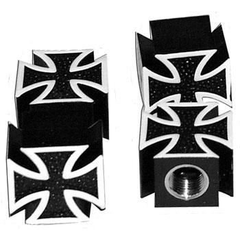 Ventilkappen - Malteser Kreuz / schwarz - paar
