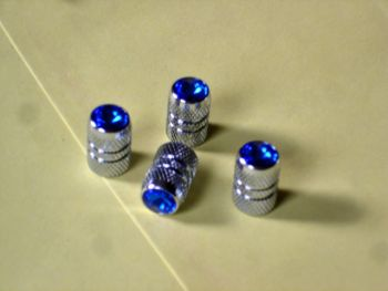 Blue Jeweled Air Valve Caps
