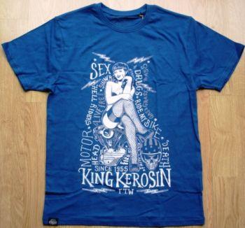 King Kerosin Regular T-Shirt Blau / Sexy Motor Girl