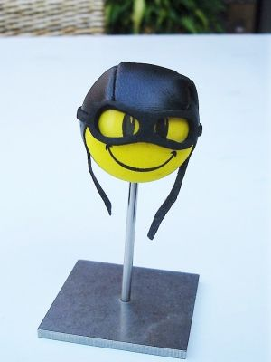 Antennenball-Pilot Smiley mit Kappe und Brille