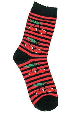 Socken - Kirschen Gestreift schwarz / rot
