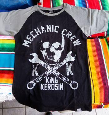 King Kerosin Raglan T-Shirt - Mechanic Crew  schwarz / grau