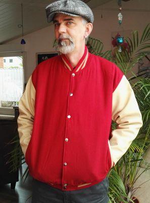Baseball Leder Jacket - Blanko / Rot-Marzipan