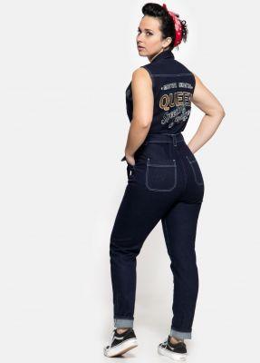 Queen Kerosin Denim Sleeveless Overall - Speedway Garage / Dark Blue