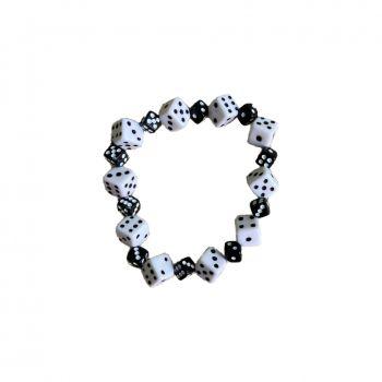 Rock Daddy Armband mit grossen und kleinen Würfeln - Weiss / schwarz