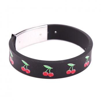 Rock Daddy Armband / Gummi Armband mit Kirschen - schwarz