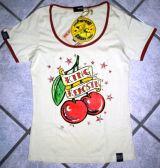 Queen Kerosin Girls Contrast T-Shirt - Cherries / Offwhite