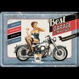 Blechpostkarte - Best Garage / Blue