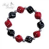 Rock Daddy Armband / Würfel Armband mit Chrome Perlen - Schwarz / rot