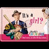 Blechpostkarte - It`s a Girl?