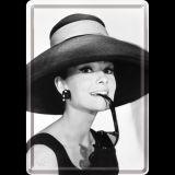Blechpostkarte - Audrey Hepburn / Hat & Glasses
