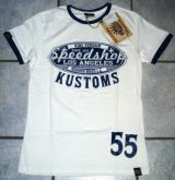 King Kerosin Contrast T-Shirt - Speed Shop Kustoms / Offwhite-blue