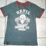 King Kerosin Slub Jersey T-Shirt - Drag Race Team / Devil Inside Us - grau-rot