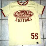 King Kerosin Contrast T-Shirt - Speed Shop Kustoms / Offwhite-red