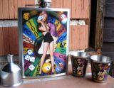 Flachmann Chromstahl / Lucky Girl Roulette Set. - BT06 Set.