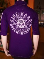 Batik Vintage Poloshirt von Queen Kerosin - Born for Speed lila