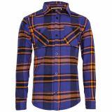 Karo Button Hemd - blau / orange