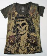 Queen Kerosin T-Shirt - Skull girl 59 / Oliv.