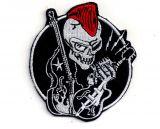 Patch - Rockabilly Skull mit Gittare und Kontrabass