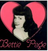 Pin up Sticker - Bettie Page / Herz