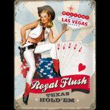 Blechschild Large - Pin-up Girl / Royal Flush