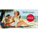 USA Retro Blechschild Lang - Coca Cola / Beach Couple