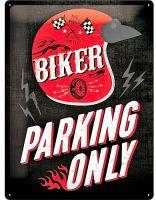 Blechschild Large - Biker Parking Only / Helmet