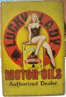 Retro Blechschild - Lucky Ladys Motor Oils