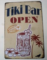 Retro Blechschild - Tiki Bar / OPEN