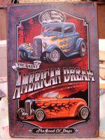 Retro Blechschild - The Great American Dream / Hot Rod