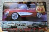 Retro Blechschild - Corvette / Route 66