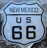 Retro Blechschild -  Route 66 / New Mexico, US 66 - weiss