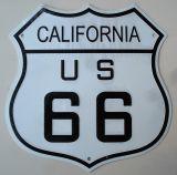 Retro Blechschild -  Route 66 / California, US 66 - weiss