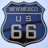 Retro Blechschild - Route 66 / New Mexico, US 66 - black