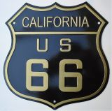 Retro Blechschild - Route 66 / California, US 66 - black