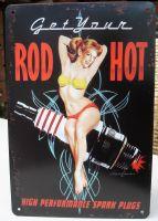 Retro Blechschild - Get your ROD HOT Spark Plugs