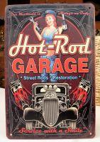 Retro Blechschild - Hot-Rod GARAGE / Service with a Smile