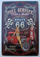 Retro Blechschild - Full Service, With a Smile ! Route 66