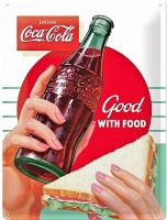 Blechschild Large - Coca Cola / Good with Food