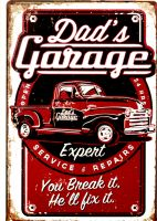 Retro Blechschild - Dad`s Garage / Chevy Pickup