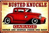 Retro Blechschild - The Busted Knuckle Garage