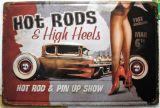 Retro Blechschild - HOD RODS & High Heels